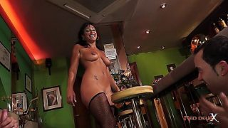 Coral Joice Serves Two Guys Creampie In Bar